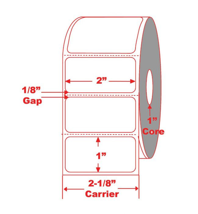 """2"""" x 1"""" Direct Thermal Labels with 1"""" core"""