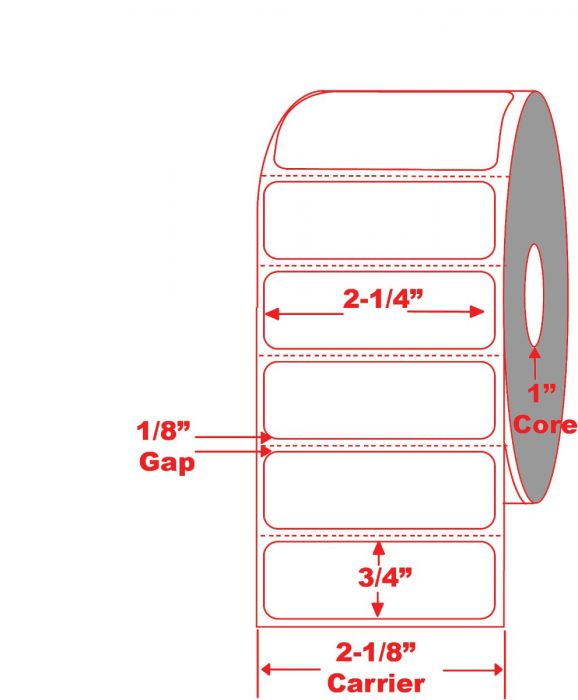 """2.25"""" x .75"""" Direct Thermal Labels with 1"""" Core"""