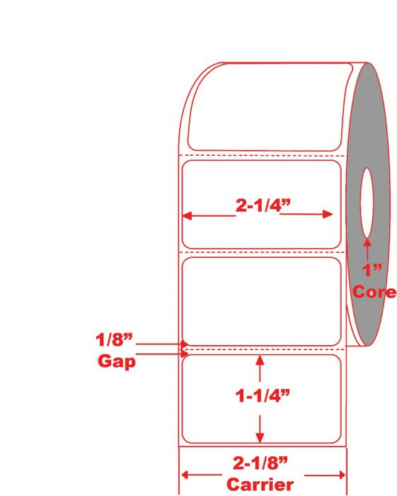 """2.25"""" x 1.25"""" Direct Thermal Labels with 1"""" core"""