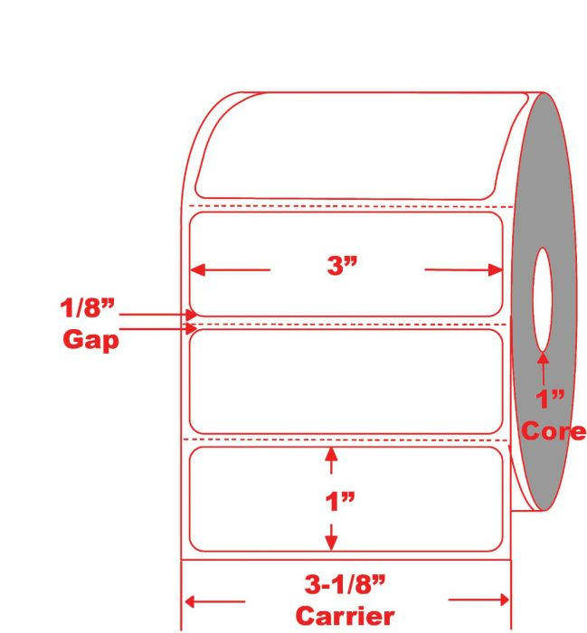 """3"""" x 1"""" Mini Printer Thermal Roll Labels on 1"""" Core"""