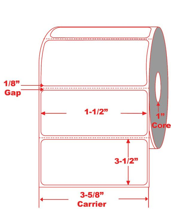 "3.5"" x 1.5"" Desktop Thermal Roll Labels on 1"" Core"