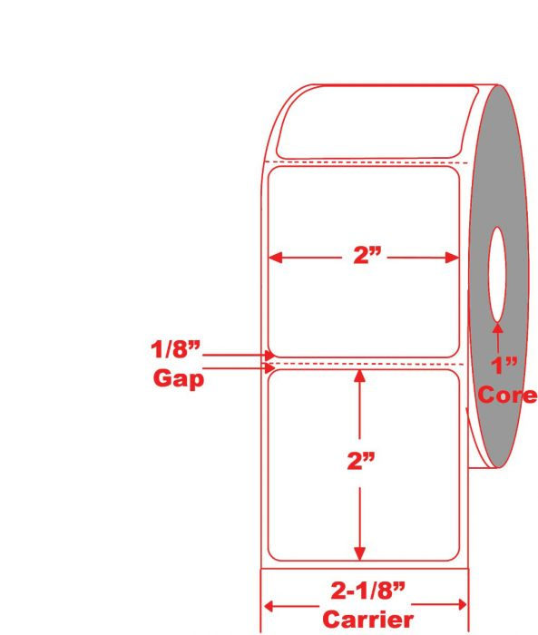 """2"""" x 2"""" Direct Thermal Labels 1"""" core"""
