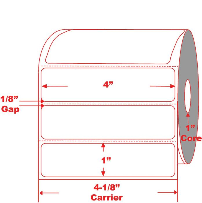 """4"""" x 1"""" Direct Thermal Roll Labels on 1"""" Core"""