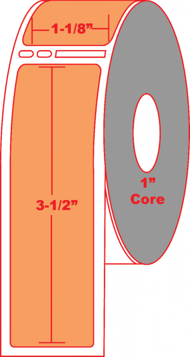 """Dymo® Compatible 30251 1.125"""" X 3.5"""" Fluorescent Orange Direct Thermal Label - No Perforation on 1"""" Core"""