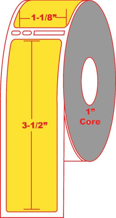 """Dymo® Compatible 30251 1.125"""" X 3.5"""" Fluorescent Yellow Direct Thermal Label - No Perforation on 1"""" Core"""