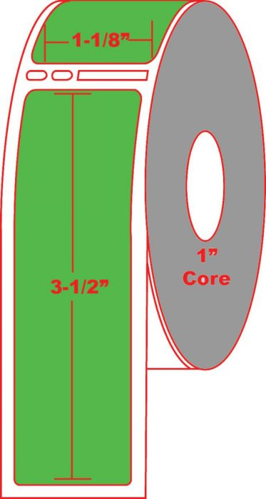 """Dymo® Compatible 30251 1.125"""" x 3.5"""" Fluorescent Green Direct Thermal Label No Perforation 1"""" Core"""