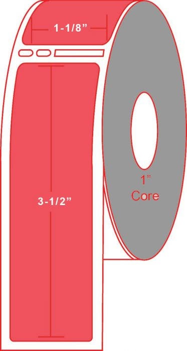 """Dymo® Compatible 30251 1.125"""" X 3.5"""" Red Direct Thermal Label - No Perforation on 1"""" Core"""