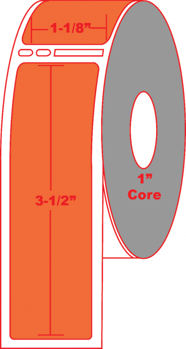 """Dymo® Compatible 30251 1.125"""" X 3.5"""" Orange Direct Thermal Label - No Perforation on 1"""" Core"""