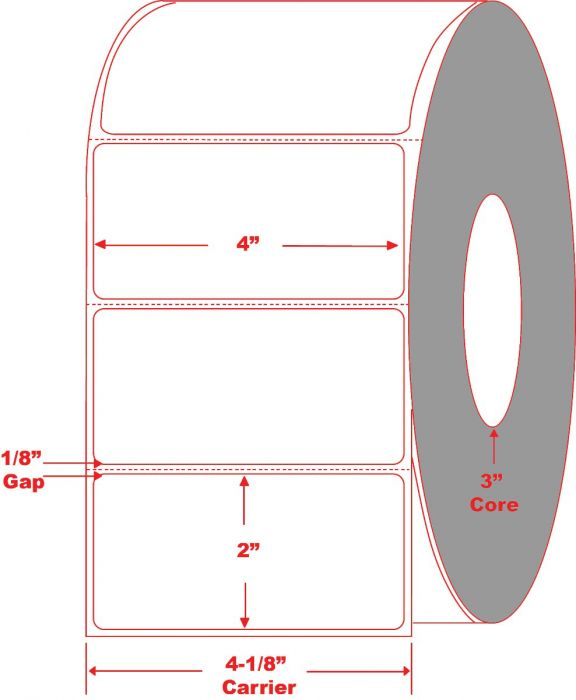 """4"""" x 2"""" Direct Thermal Labels Perforated"""