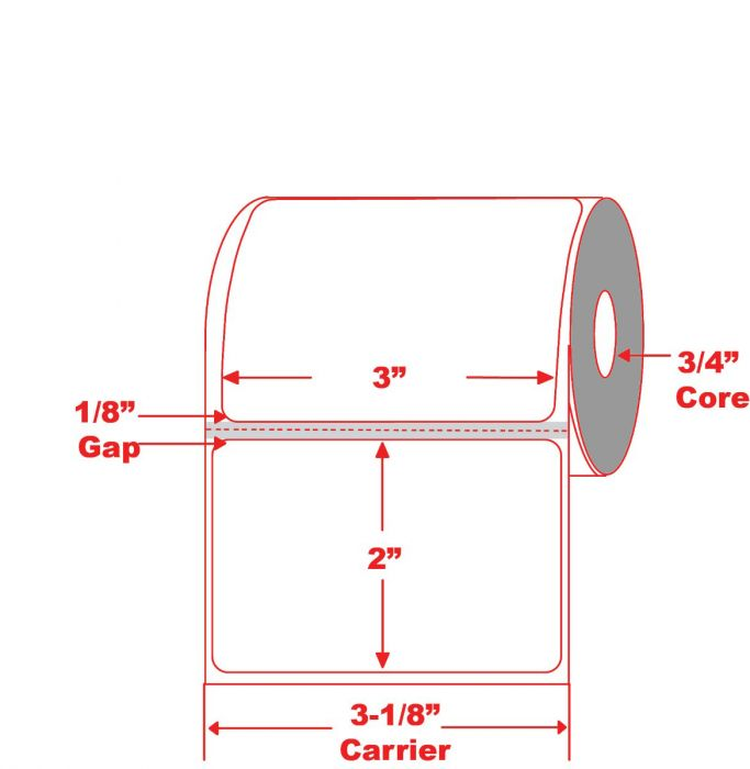 """3"""" X 2"""" Mobile Direct Thermal Label on 3/4"""" Core - Perforated"""