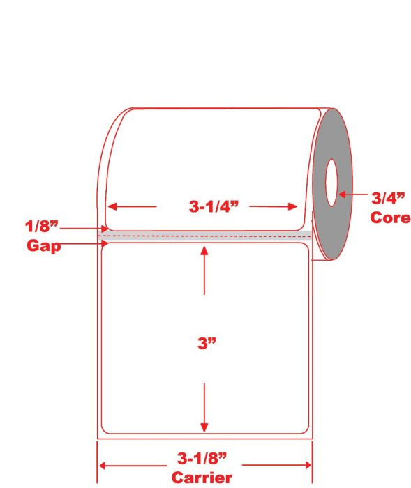"3.25"" x 3"" Mobile Printer Direct Thermal Label 3/4"" Core"