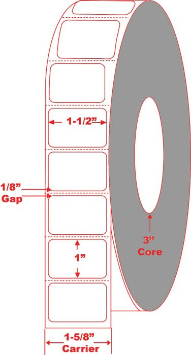 """1.5"""" x 1"""" Thermal Transfer Labels - Perforated"""