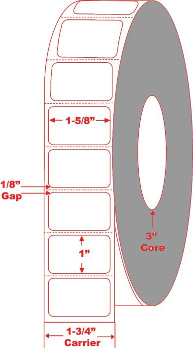 """1.625"""" x 1"""" Thermal Transfer Labels Perforated"""