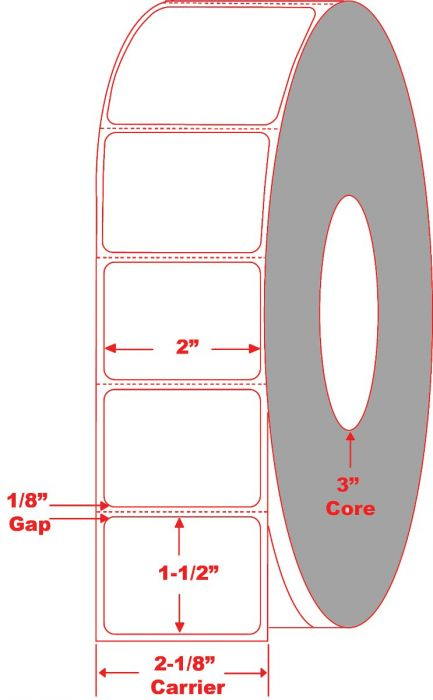"""2"""" x 1.5"""" Thermal Transfer Labels Perforated"""