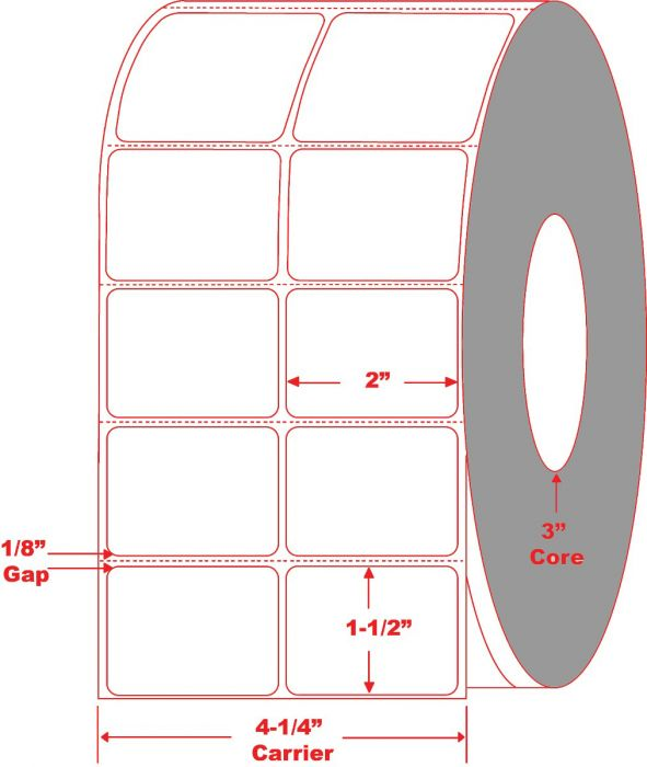 """2"""" x 1.5"""" Thermal Transfer Labels 2 Across"""
