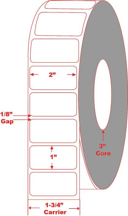 """2"""" x 1"""" Thermal Transfer Labels - Non-Perforated"""