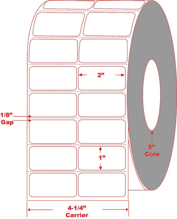 """2 Across 2"""" x 1"""" Thermal Transfer Labels Perforated"""