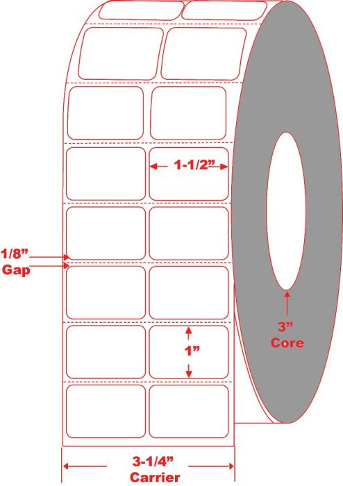 "1.5"" x 1"" Thermal Transfer Labels Perforated 2 Across"