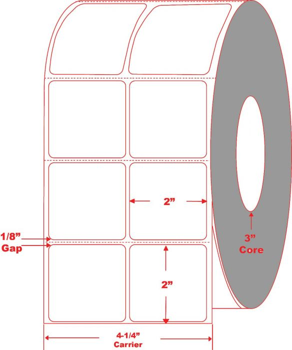 """2"""" x 2"""" Thermal Transfer Labels  - Perforated - 2 Across"""