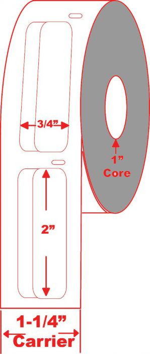 "0.75"" x 2"" Direct Thermal Label 1"" Core"