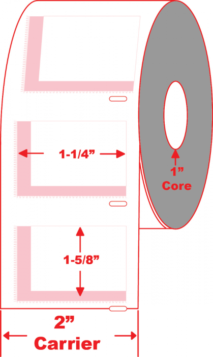 """1.625"""" X 1.25"""" Direct Thermal Label - 1"""" Core"""