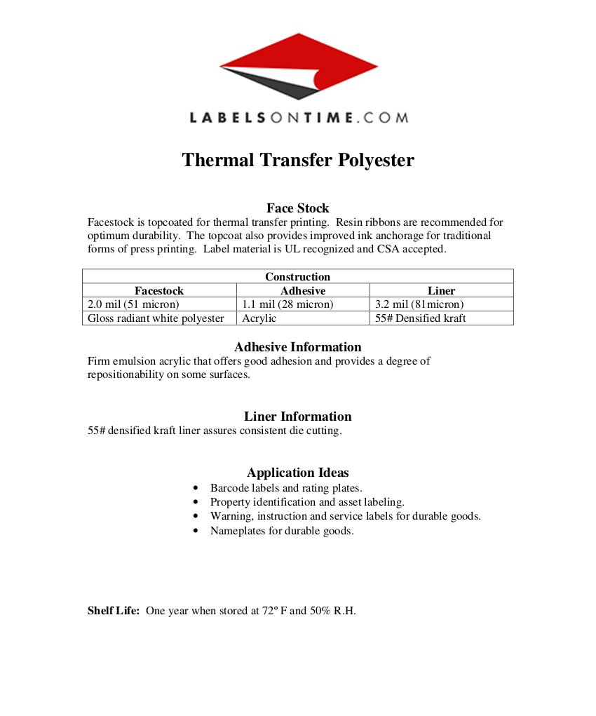 Thermal Label Materials