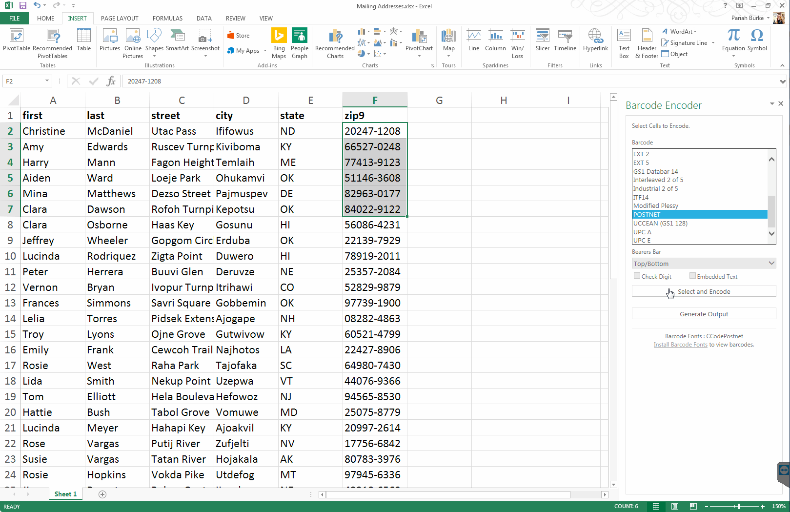Generating PostNet Mailing Codes in Excel with ConnectCode